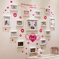 欧式照片墙 实木雕花心形相片墙 卧室相框创意组合 14框