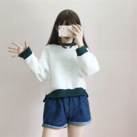 秋装新款韩版蝙蝠袖宽松时尚拼色短款套头卫衣