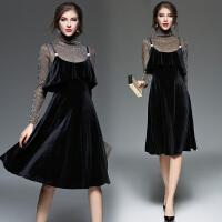 女装冬高领亮丝长袖打底衫+荷叶边黑色丝绒吊带连衣裙两件套