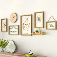 客厅装饰画沙发背景墙北欧风格挂画组合卧室墙画现代简约餐厅壁画SN4680 整体尺寸200CM*65CM 5框组合带钟表