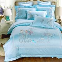 婚庆四件套蕾丝粉色全棉被套结婚床上用品喜庆纯棉六件套床品刺绣 2.0m(6.6英尺)床 六件套送全套枕芯