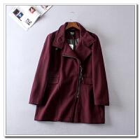 大码女装秋冬新斜拉链羊毛呢子大衣修身显瘦200斤胖MM外套