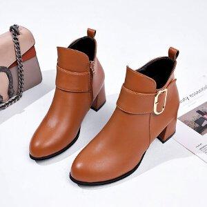 短靴女鞋靴子单靴女2018秋冬季新款英伦风圆头短筒皮带扣短靴粗跟马丁靴中跟1302MH