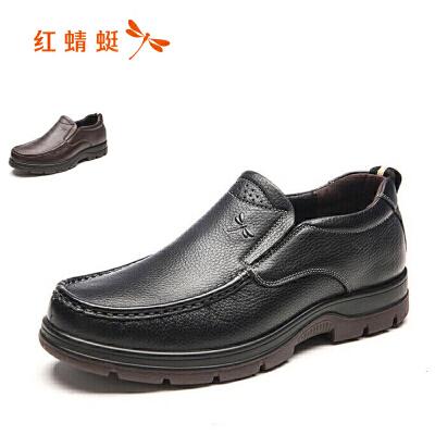 红蜻蜓男士休闲皮鞋男真皮软面皮软底韩版一脚蹬商务黑色中年爸爸鞋