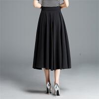 黑色雪纺半身长裙夏大摆裙大码纯色百褶裙字裙半身裙中长款