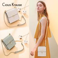 Clous Krause新款CK包包女单肩斜挎包迷你爱心扣单肩手提小包包百搭小方单肩斜挎包夏季款