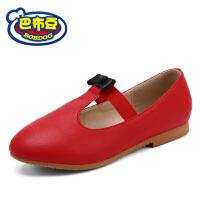 巴布豆童鞋 女童皮鞋2016春秋季新款女孩公主鞋单鞋红色女孩皮鞋