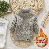 男童女童冬装儿童韩版小童加厚加绒宝宝高领针织衫毛衣1-3-4-8岁