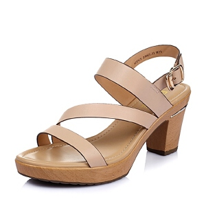 Belle/百丽夏季专柜同款胎牛皮革女凉鞋3ZFC3BL6