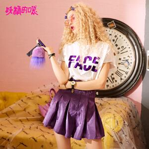【低至1折起】妖精的口袋ulzzang两件套2018新款紫色t恤高腰短裤套装女