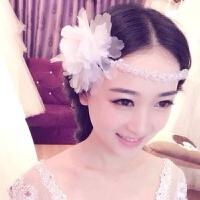 手工仿珍珠串珠花朵结婚发饰中式婚纱礼服头饰短发额饰 12# 头饰