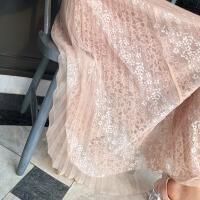 半身裙女2018夏装新款韩版甜美仙网纱蕾丝中长款裙子夏季潮