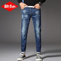 Lee Cooper秋季牛仔裤弹力修身小脚休闲裤子直筒磨白男式牛仔裤
