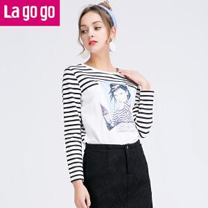 Lagogo拉谷谷2016新款黑白条纹印花长袖T恤女显瘦上衣