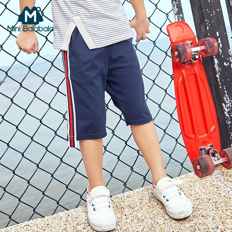 【尾品汇】迷你巴拉巴拉男童中裤棉质裤子2018夏季新品五分裤儿童裤子薄