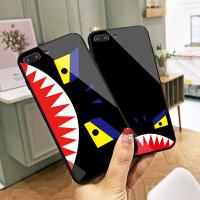 鲨鱼怪苹果8plus手机壳个性潮牌iPhone7硬壳彩绘卡通玻璃壳6硅胶防摔XS MAX耐磨镜面X简约可爱手机外壳网红