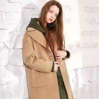 冬装新品 西装领字母刺绣毛呢大衣羊毛外套女D742846D00