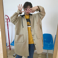 风衣女春季新款韩版学院风百搭宽松中长款拼色连帽休闲外套学生潮 卡其色 均码