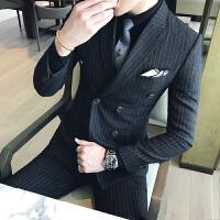 新品18秋冬男士韩版修身双排扣加厚西服套装潮流青年免烫结婚三件