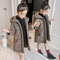 【8万+妈妈的选择】女童秋冬装2019新款洋气加绒外套厚中大儿童韩版大衣毛呢子外套潮