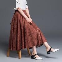 蕾丝半身裙夏女2018新款高腰大码中长款a字裙大摆半身长裙子