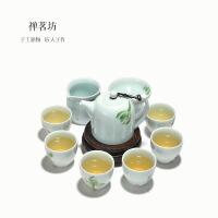 包邮 手绘青瓷茶壶茶具套装 整套陶瓷套组