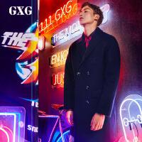 GXG毛呢大衣男装 冬季男士潮流青年时尚双排扣藏青色长款大衣