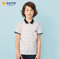 2018夏装新款中大童纯棉儿童休闲短袖印花T恤男童翻领白色POLO衫