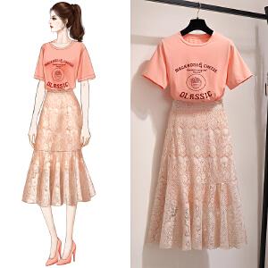 安妮纯俏皮洋气时尚套装裙女2020新款夏装很仙法国小众女神范两件套