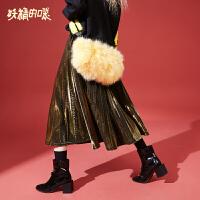 妖精的口袋Y秋装2018新款女生裙子百褶复古韩版学生秋冬半身裙潮
