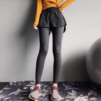 假两件健身裤女弹力紧身瑜伽裤跑步裙裤速干健身服运动裤 黑色 现货