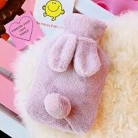 日系可爱卡通冬季兔子毛绒绒女暖宫注水保暖学生便携暖手宝热水袋 3#紫色兔子热水袋