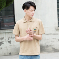 夏季新款日系休闲小清新刺绣纯棉POLO衫男 青少年短袖上衣潮