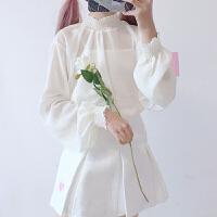 2018新款秋冬女装少女心雪纺可爱木耳边高领内搭长袖蕾丝雪纺衫打底衫 均码
