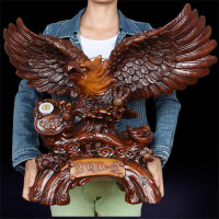 鹰大摆件 大展宏图中式木雕猫头鹰办公室桌面工艺品摆设开业乔迁礼礼品*SN5326