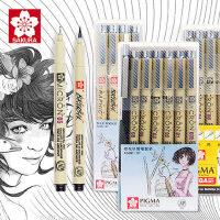 sakura日本进口樱花针管笔勾线笔动漫设计勾边防水绘图笔黑色描边描线笔樱花牌笔正品手绘漫画笔专用画笔套装