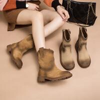 玛菲玛图中跟真皮短靴女新款复古欧美靴子中筒靴西部牛仔靴骑士靴5751B-85NJ