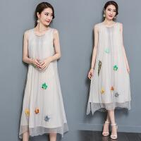 长裙夏季新款欧美气质名媛 立体树叶钉珠背心连衣裙