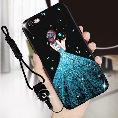 苹果手机壳iPhone6硅胶6splus女款挂绳个性红色磨砂软套