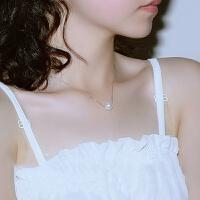 珍珠吊坠项链贝壳s925银锁骨链女款坠子单颗小韩版森系简约学生