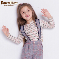【2件3折 到手价:77】Pawinpaw卡通小熊童装秋女童小熊印花花边圆领长袖T恤