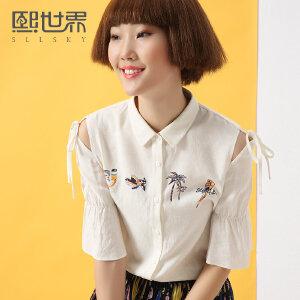 熙世界印花短袖方领衬衫2018夏装新款韩版印花喇叭袖衬衣102SC754