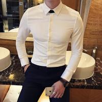 2017春季新款潮流衬衫男韩版修身长袖衬衫男发型师衬衣纯色男上衣