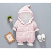冬季女宝宝夹棉连体衣加绒加厚儿童棉衣男婴儿外出服羽绒冬装