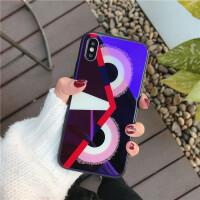 苹果x手机壳iphone6s套蓝光玻璃7/8plus个性创意潮牌情侣男女款新
