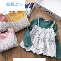 女童长袖T恤 宝宝假两件打底衫儿童螺纹圆领蕾丝上衣2018春装童装