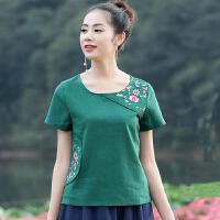 民族风女装上衣短袖女绣花夏季T恤 中国风短款修身显瘦棉麻打底衫