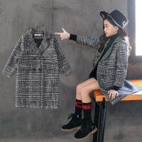 女童冬装外套韩版2018新款洋气秋装儿童小女孩毛呢子格子大衣童装 黑色