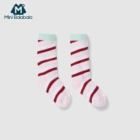 【每满299元减100元】迷你巴拉巴拉男女婴儿袜子儿童中筒袜条纹袜透气吸汗春季新款双色可选