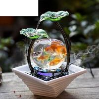 陶瓷喷泉桌面加湿器创意生日礼物家居小型客厅鱼缸流水电视柜摆件